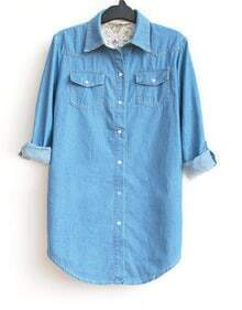 Blue Long Sleeve Denim Two Pockets Curved Hem Shirt