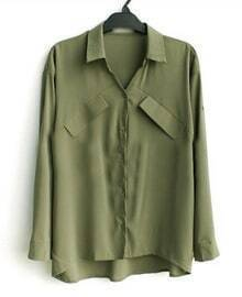 Amy Green Double Pockets Long Sleeve Equipment Shirt