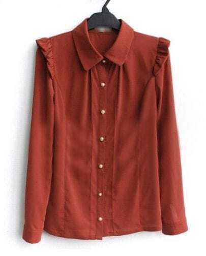 Burgundy Frill Shoulder Long Sleeve Pintucks Chiffon Shirt
