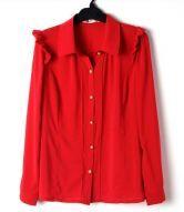 Red Frill Shoulder Long Sleeve Pintucks Chiffon Shirt