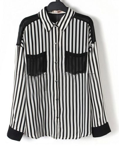 Black Striped Contrast Pockets and Back Long Sleeve Shirt