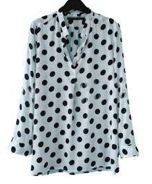 White Black Polka Dot V-neck Placket Long Sleeve Blouse