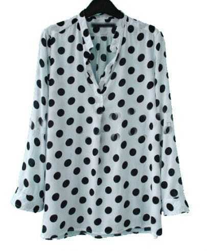 White Black Polka Dot V-neck Placket Long Sleeve Blouse