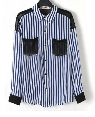 Blue Striped Contrast Pockets and Long Sleeve Shirt