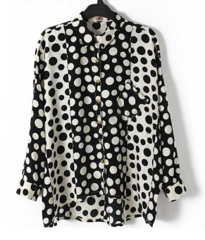 Black Polka Dot Dolman Long Sleeve Pleat Back Chiffon Shirt