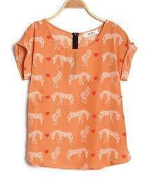 Orange Zebra Heart Print Roll Sleeve Zip Back Chiffon Blouse
