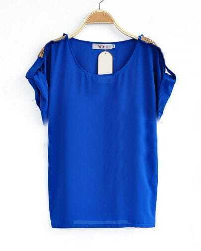 Royal Blue Roll Sequined Short Sleeve Chiffon Blouse