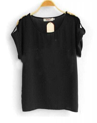 Black Roll Sequined Short Sleeve Chiffon Blouse