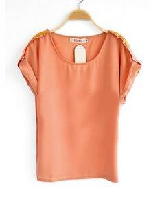 Nude Roll Sequined Short Sleeve Chiffon Blouse