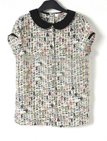 Children Print Contrast Peter Pan Collar Chiffon Blouse