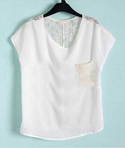 White Floral Lace Back and Pocket Short Sleeve Chiffon Blouse