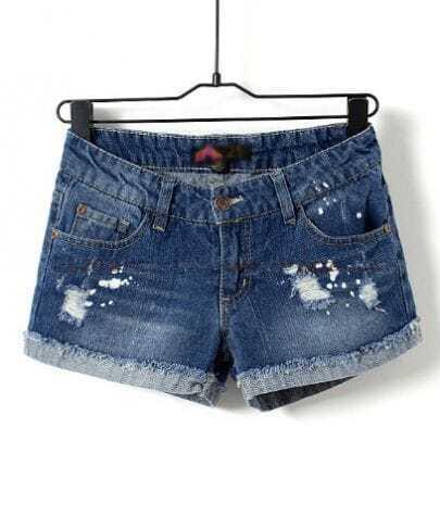 Dark Blue Low Waist Frayed Jean Shorts