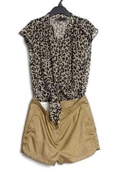 coffee Leopard Color Block Chiffon High Waist Jumpsuit