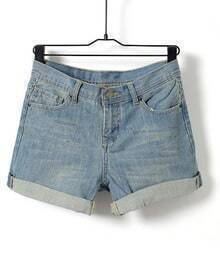 Light Blue Mid Waist Casual Jean Shorts