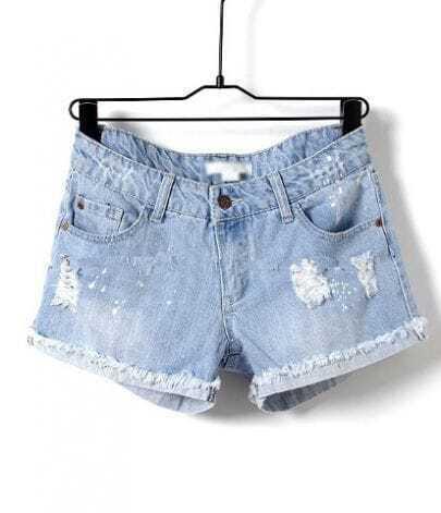 Light Blue Low Waist Frayed Jean Shorts