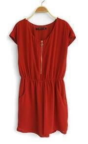 Red Round Neck Short Sleeve Low Waist chiffon Jumpsuit