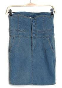 Dark Blue Solid High Waist Above Knee jean Dress