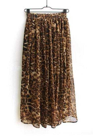 Brown Leopard Street Ruffle Chiffon Full-Length Dress