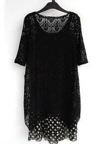 Black Round Neck Short Sleeve Lace Polka Dot Chiffon Dress