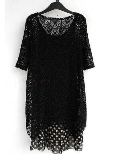 Black Round Neck Short Sleeve Lace Polka Dot Chiffon Dress