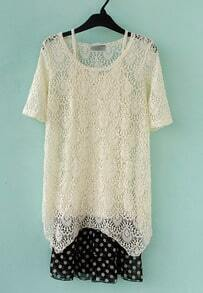 Beige Round Neck Short Sleeve Lace Polka Dot Chiffon Dress