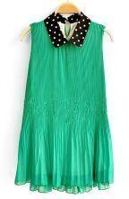 Green Polka Dot Loose Lapel Sleeveless Chiffon Dress