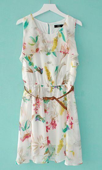 White Round Neck Sleeveless Ruffles Chiffon Dress