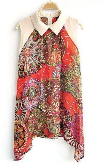 Red Lapel Sleeveless Loose Tribal Print Chiffon Dress