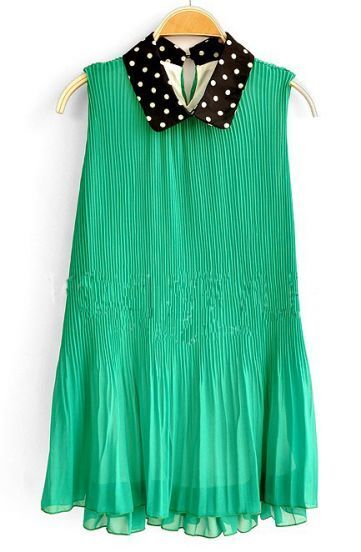 Green Polka Dot Loose Lapel Sleeveless Chiffon Dress