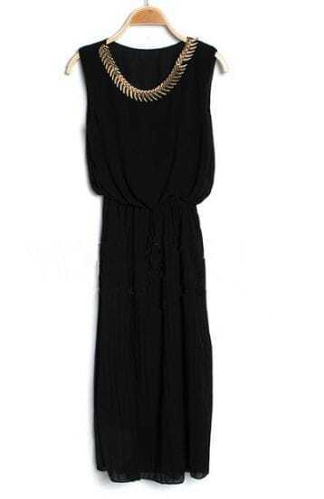 Black Round Neck Sleeveless Ruffle Chiffon Dress