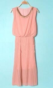 Pink Round Neck Sleeveless Ruffle Chiffon Dress