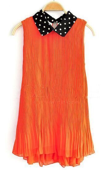 Orange Lapel Sleeveless Polka Dot Loose Chiffon Dress
