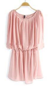 Pink Solid Round Neck Elastic Ruched Chiffon Dress