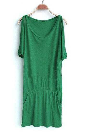 Green Solid Round Neck Short Sleeve Elastic Batwing Dress