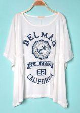 White DELMAH CALIFORNIA Round Neck Short Sleeve Poncho