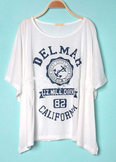 White DELMAH CALIFORNIA Round Neck Short Sleeve Poncho