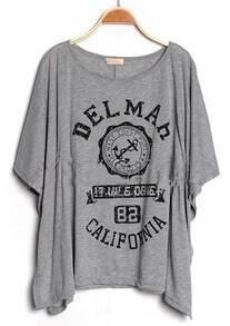 Grey DELMAH CALIFORNIA Round Neck Short Sleeve Poncho
