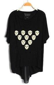 Black Skull Dipped Him T-Shirt with Chiffon Lace Up Back
