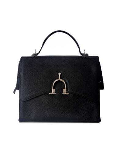 Black Solid Leather Lock Casual Handbag