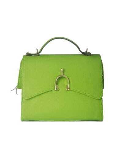 Green Solid Leather Lock Casual Handbag