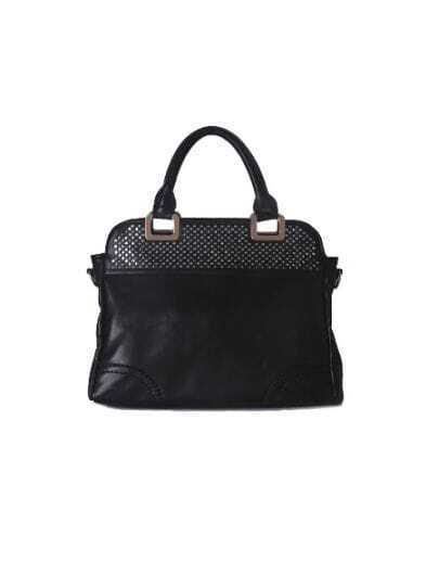Black Flare Hollow Zipper Handbag