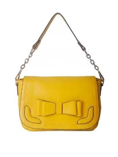 Yellow Solid Vintage Leather Bow Handbag