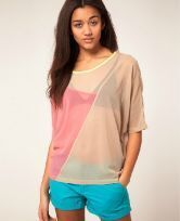 Candy Color Matching Round Neck Half Sleeve Chiffon Shirt