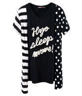 Black White Strips and Polka Dot Short Sleeve Hanky Hem T Shirt