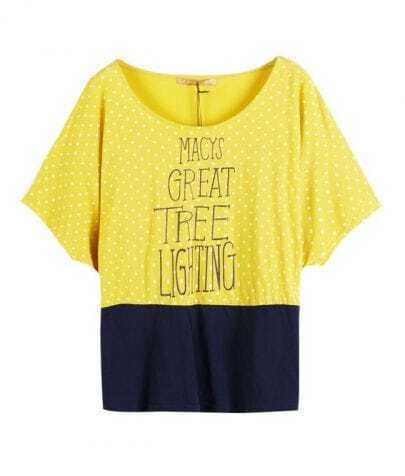 Yellow GREAT TREE LIGHTING Polka Dot Colorblock Short Sleeve T-shirt