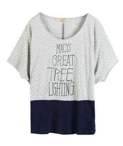 Grey GREAT TREE LIGHTING Polka Dot Colorblock Short Sleeve T-shirt