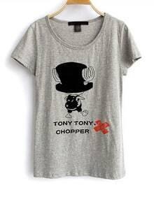 Cartoon Girl Printed Grey Round Neck Short Sleeve T Shirt