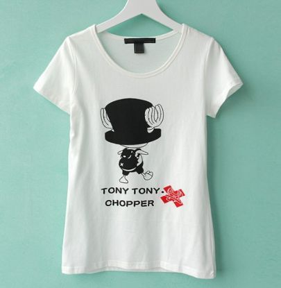 Cartoon Printed White Round Neck Short Sleeve T Shirt