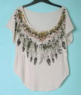 Feather Printed Beige Round Neck Bat Short Sleeve T Shirt