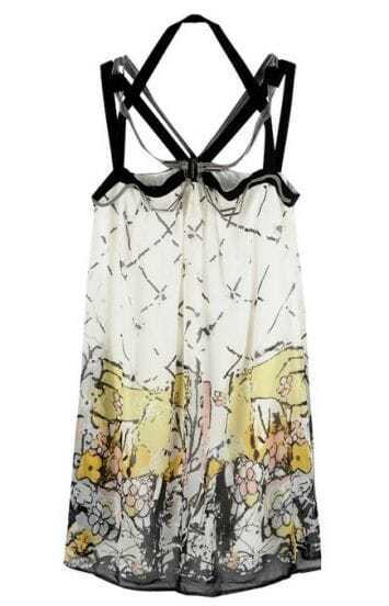 Yellow Street Spaghetti Strap Polyester Print Dress